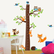 Wallpark Large Cute Owls & Birds Cartoon Naughty Squirrels Climbing Big Brown Tree Height Sticker, Growth Height Chart Measuring Removable Wall Decal, Children Kids Baby Home Room Nursery DIY Decorative Adhesive Art Wall Mural