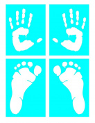 Auto Vynamics - STENCIL-HUMANPRINTSET01-X - Life-Size Handprints & Footprints Stencil Set - Includes Left & Right, Hand & Foot Designs! - (2) 18cm by 23cm Sheets & (2) 18cm by 25cm Sheets - (4) Piece Kit