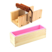 Peicees Adjustable Wooden Soap Loaf Cutter Mould + 2 Pieces Stainless Steel Cutters + Rectangle Silicone Mould with Wood Box