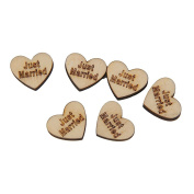 PIXNOR 50pcs Just Married Wooden Hearts Embellishments Crafts