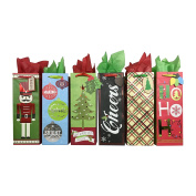 Wine Bottle Holiday Gift Bags with Tissue Paper