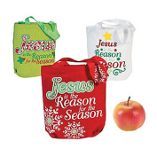 12 ~ Jesus Is the Reason Holiday Totes / Gift Bags ~ Canvas 20cm x 6.4cm x 20cm ~ New