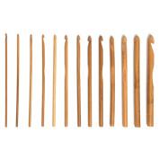 Gilroy 12 Sizes 15cm Bamboo Handle Crochet Hook Knit Weave Yarn Craft Knitting Needle Set