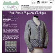 Slip Stitch Squares Cardigan - Vermont Fibre Designs Knitting Pattern 112 XS-5X