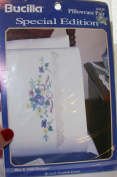 Pillowcase Pair Blue and Violet Bouquet - Bucilla Stamped Cross Stitch Kit 64238 [Special Edition]