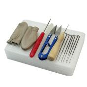 Akak Store Needle Felting Starter Kit Set - Felting Foam Pad+Needles+Scissor+Wooden Felting Handle+Awl+Finger Stall+Glue Stick - Felting Kits Accessory Craft Set
