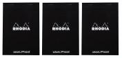 Pack of 3 Rhodia Top Staplebound Black Notepads dot - 20cm - 0.6cm . x 28cm - 1.9cm .
