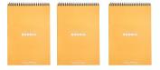 Pack of 3 Rhodia Wirebound Orange Notepads dot - 15cm . x 20cm - 0.6cm .
