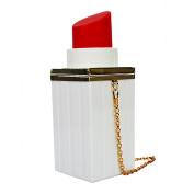QZUnique Women's Acrylic Elegant Lipstick Shape Purse Evening Bag Clutch Handbag