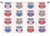 Ambesonne Boys Girls Room Decor Collection, Pattern of Owls with Zigzag Polkadots and Chevron Print Modern, Window Treatments for Kids Bedroom Curtain 2 Panels Set, 270cm X 210cm , White Grey Blue Red
