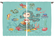 Ambesonne Childrens Room Decor Collection, Under the Sea Theme with Little Mermaid Fish Sea Creatures Retro Style Cartoon, Window Treatments for Kids Bedroom Curtain 2 Panels Set, 270cm X 210cm , Teal