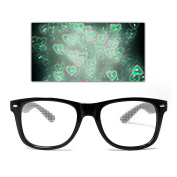 GloFX Heart Ultimate Diffraction Glasses - Black - Rave 3D Prism EDM Rainbow Kaleidoscope Fireworks Hearts