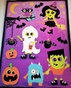 HALLOWEEN CLING By IMPACT INNOVATIONS - Happy Halloween, Pumpkins, Ghosts, Eyes, Cats, Bats