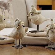 Polyresin Bird Design Figurine W/ Metal Feet - Asst. 4