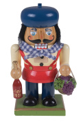 Wooden Chubby Italian Nutcracker with Wine Bottle and Basket of Grapes - 18cm Tall
