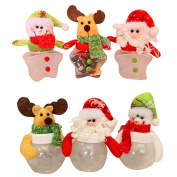 TOPUNDER Christmas Candy Jar round star cloth doll candy box