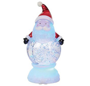 Santa Claus Merry Christmas Character LED Light-up 23cm x 13cm Acrylic Snow Globe