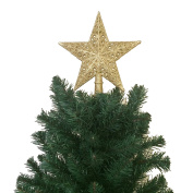 21cm H Star Tree Topper With Glitter Christmas Tree Decoration - Gold