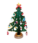 Genluna Wooden Christmas Tree with Small Decorative Accessories Free Green