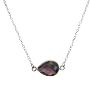 925 Sterling Silver Chain with Amethyst Quartz Pear Bezel Gemstone Necklace