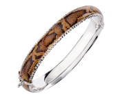 G & H Sterling Silver and Enamel Bangle Bracelet with Hinge with Snake Skin Print and Diamond Cut Designs