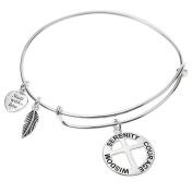 Sterling Silver Christ Cross Serenity Courage Wisdom Heart Dangle Charm Adjustable Bangle Bracelet