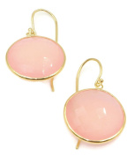 Chalcedony Pink Round Earrings,14K Yellow Gold Earwire