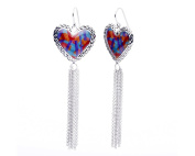 G & H Sterling Silver and Enamel Heart Drop & Dangle Tassel Earrings with Colourful Print and Diamond Cut Design