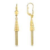 MCS Jewellery 10 Karat Yellow Gold Leverback Drop Dangling Strands Earrings (Length
