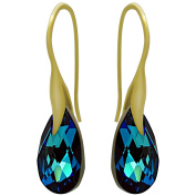 """Royal Crystals """"Made with Crystals"""" 24k Gold Plated Sterling Silver Drop Pierced Earrings"""