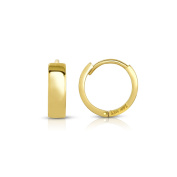 MCS Jewellery 14 Karat Yellow Gold Wide Huggie Hoop Earrings (Diameter