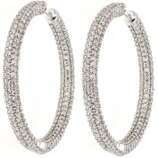 Diamond Hoop, 14kt White gold Diamond Pave Hoop