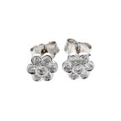 Diamond Stud, 14kt White gold Diamond Cluster Stud Earring, 0.30TCW