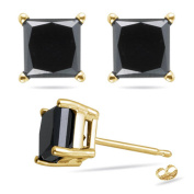 Stud Post Earrings Princess Cut Square Black Cubic Zirconia 14K Yellow Gold Plated 925 Sterling Silver