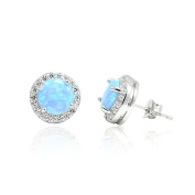 Halo Stud Post Wedding Bridal Earrings Round Cut Lab Created Light Blue Round CZ 925 Sterling Silver