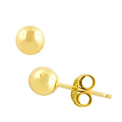 Ball Stud Post Earrings 14K Yellow Gold Plated 925 Sterling Silver