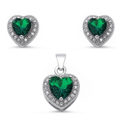 Halo Jewellery Set Pendant Stud Earrings Heart Shape Simulated Green Emerald Round CZ 925 Sterling Silver