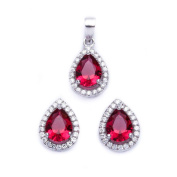 Halo Jewellery Set Pendant Stud Earrings Pear Shape Simulated Red Ruby Round CZ 925 Sterling Silver