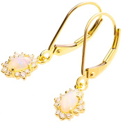 18K Solid Gold Unique Opal Dangling Hang Earrings For Women Set With Diamonds and Australian Opal