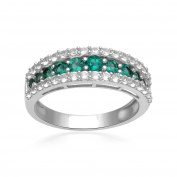 Sterling Silver Created Emerald and Created White Sapphire Band Ring
