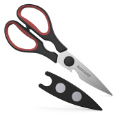 Nuovoware Heavy Duty Kitchen Shears, Premium Stainless Steel Ultra Sharp Multifunction Kitchen & Herbs Scissors with Comfortable Handle, Black & Red