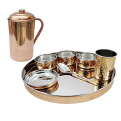 U LOVE IT Traditional Dinnerware Stainless Steel Copper Thali set/Dinnerset(Thali Plate,Bowl,Glass,Spoon) with 1 Plain Pure Copper Pitcher jug