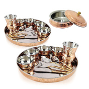 SET OF 2, Indian Dinnerware Stainless Steel Copper Traditional Dinner Set of Thali Set (Dinner Plate, Cutlery, Bowls, and Glass) With Serving Bowl Tureen GIFT IDEA WITH FREE WOODEN KEYRING