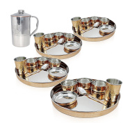 Set of 4, Indian Dinnerware Stainless Steel Copper Traditional Dinner Set of Thali Plate, Bowls, Glass and Spoon (Dia 33cm ) With 1 Embosed Pitcher Jug