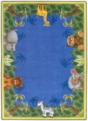 Joy Carpets Kid Essentials Infants & Toddlers Oval Jungle Friends Rug, Multicoloured, 0.9m x 1.5m