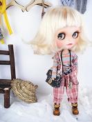 Blythe Doll Handmade clothing robot pendant suspender trousers pink