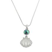 Liav's Seashell Charm Pendant Fashionable Necklace / Abalone Paua Shell / 43cm Snake Style Chain / Unique Gift and Souvenir