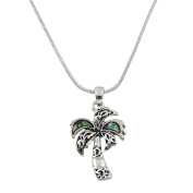 Liav's Palm Tree Charm Pendant Fashionable Necklace / Abalone Paua Shell / 43cm Snake Style Chain / Unique Gift and Souvenir