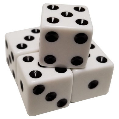 Set of 5 Pastel White Colour 6 Sided Dice Square Corner Black Pips 16mm in Snow Organza Bag