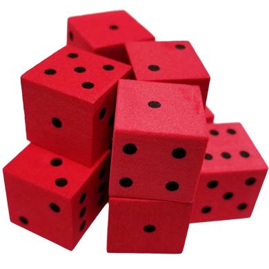 Set of 10 Red Foam Dice 6 Sided Black Spots 16mm Square Corner in Snow Organza Bag